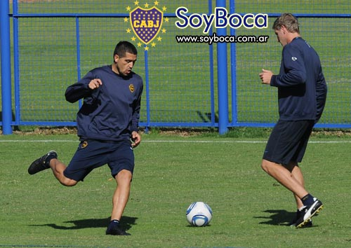 Riquelme y Palermo entrenando juntos